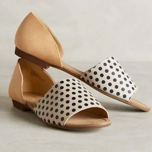 Anthro Latigo Milly D'Orsay Polka Dot Flats Sandal